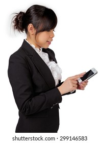 asian female business woman executive texting, messaging, using smartphone application with touchscreen technology on white background