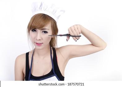 Asian female chef over white background