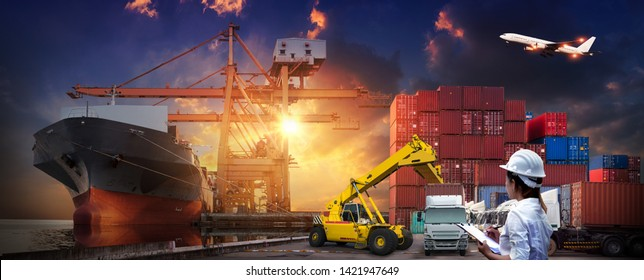 Asian female dock worker control loading Containers box to truck for Logistic Import Export Background, Business logistic concept, import and export cargo concept