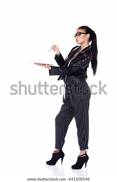 Asian Female Fashion Designer Nerd Draw Stock Photo Edit Now 641200546
