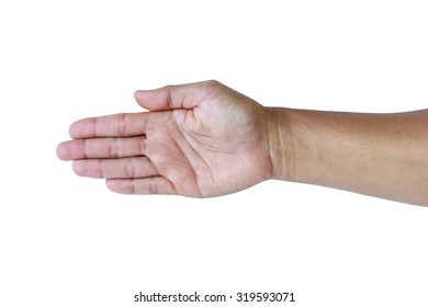 Asian female hand on the isolated background