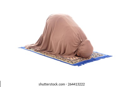 Asian female muslim praying isolated on white background.