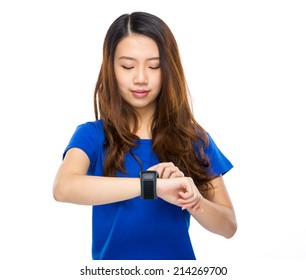 Asian female with smart watch
