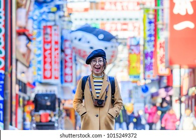 Asian female traveler in Japan