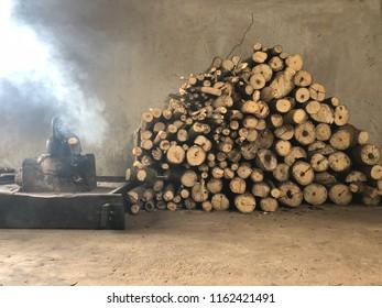 Asian Fireplace fireside  & firewood