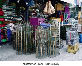 Asian Fishing tools. Fishing equipments sell in Roadside miscellaneous shop. Street stall in flea market. Thailand.