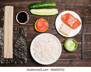 Asian food background. Sushi preparation. Making sushi at home traditional sushi ingredients. Asian food background. Top view.
