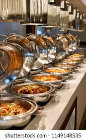 Asian food buffet in restaurant