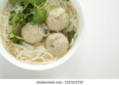 Asian food, fish ball and soup rice noodle