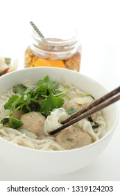 Asian food, fish ball and soup rice noodles