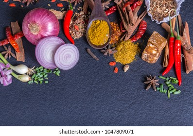 Asian Food. Asian Ingredients Still Life various herbs and spices for cooking on dark background, top view