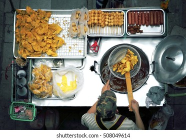 Asian food lifestyle, Top view of a Thai street food vendor in Bangkok, Thailand. (Color Processed)