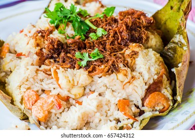 Asian food, the lotus leaf steamed rice