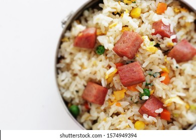 Asian food, luncheon meat fried rice lunch box