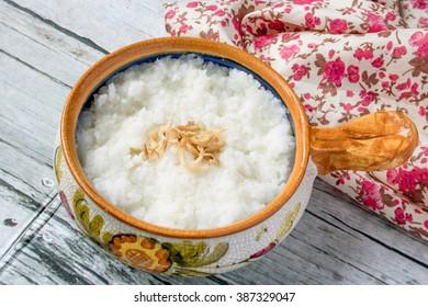 Asian food ,rice porridge / Indonesian Steam Rice Nasi Liwet