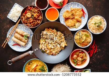 Asian food set Noodles