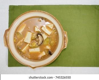 Asian food  Soybean Paste Stew (miso soup)