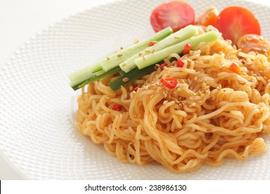 Asian food, spicy lo mein Mixed noodle with vegetable