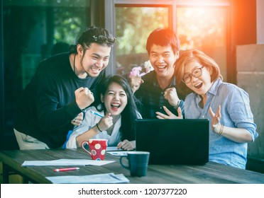 asian freelance teamwork happiness emotion looking to laptop computer in home office