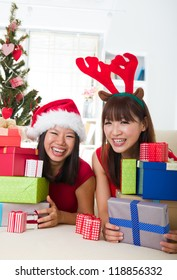 asian friend lifestyle christmas photo, close up on face