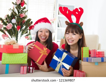 asian friends christmas celebration lifestyle