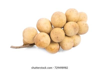Asian fruit, Tasty Lansium parasiticum or Langsat, Longkong, Duku, Lansium parasiticum isolated on white background.