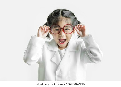 asian girl with big glasses and science suite action on white screen. touch glasses Action kid model with doctor or science costume.