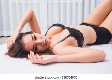 Asian girl in bikini on bed, girl on bed