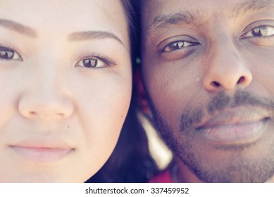 Asian girl and black man portrait. concept about couples and diversity