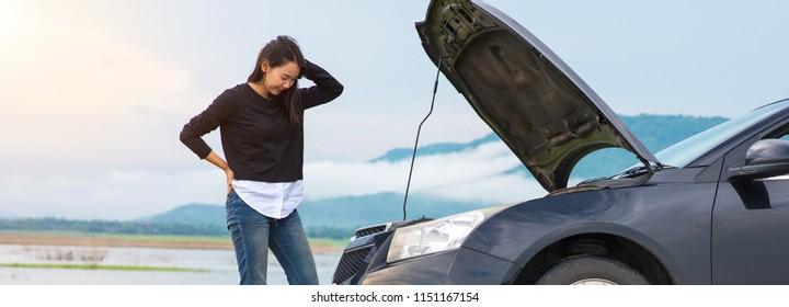 Asian girl Calls Car Insurance Broken car. Car Insurance Concept