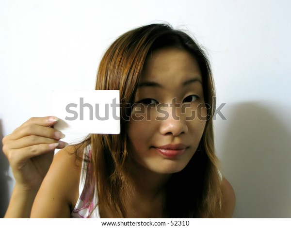 asian girl with a card