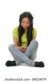 Asian girl with cell phone listen music