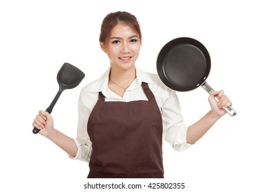Asian girl cook with frying pan  isolated on white background