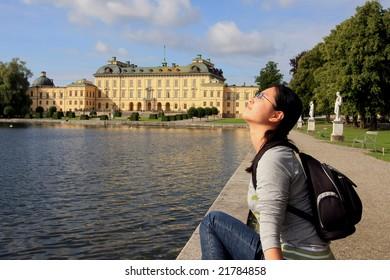 Asian girl enjoying holiday in Stockholm