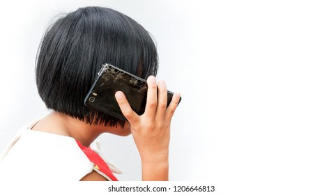 Asian girl with her phone.