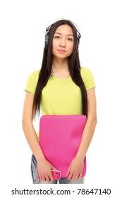 Asian girl holding a laptop case