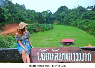 Asian girl at Homestay Ban Huai Hom at The Mae La Noi Royal Project, An agricultural tourist attraction during the rainy and winter season in Thailand, Huay Hom, Mae Hong Son, thailand, July 2018
