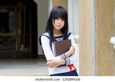 asian girl in japanese style school uniform