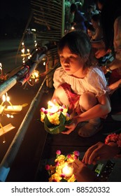 Asian girl in Loy Kratong Festival, Chiangmai Thailand