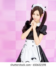 asian girl maid cosplay anime japanese style