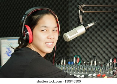 asian girl and microphone