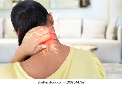 Asian girl with neck pain