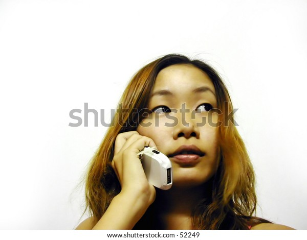 asian girl on the mobile phone