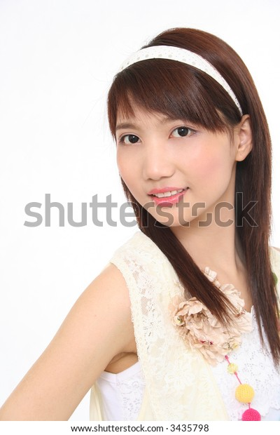 Asian Girl on white background