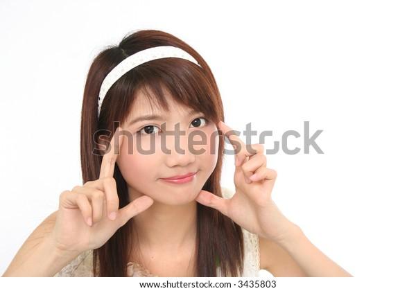 Asian Girl on white background