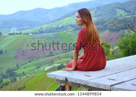 0301c9dcb Asian girl at Pa bong Piang Rice Terraces, Famous attractions in the rainy  season in