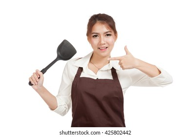 Asian girl point to spade of frying pan  isolated on white background