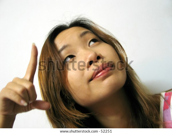 asian girl pointing