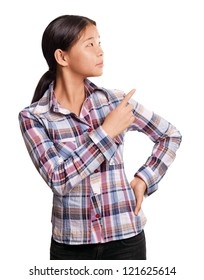 Asian girl with pointing finger showing something