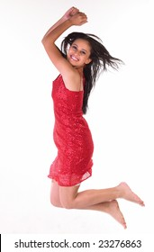 Asian girl with red skirt in a jumping expression